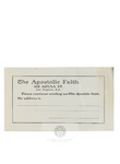 Subscription Card by The Apostolic Faith Mission