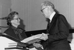 Eunice Jones Matthews and F B Stanger, presentation of manuscript of The Way, Feb 10 1977, Estes Chapel