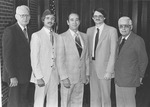 Luncheon farewell for Fank Stanger. Stanger is pictured with Joel Hunt, Donald Conrad, Charles Kingsley, May 1981