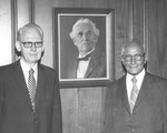 Frank Stanger, J C McPheeters with a portrait of H C Morrison