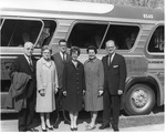 Dr. and Mrs. Willard Hallman, Dr. and Mrs. David Edwards, Dr. and Mrs. Frank  B. Stanger in front of the Singing Seminarians tour bus.