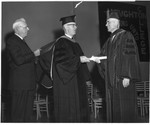 Frank Stanger receives Doctor of Letters from Houghton College C.I. Armstrong, Stanger, Stephen Paine (President of Houghton College) June 4, 1962