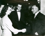 J. C. McPheeters welcomes Mrs. C. Ide to Asbury family 1954 Fall reception
