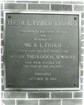 B. L. Fisher Library Dedication Plaque