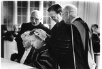 Close-up of the laying on of hands at President David McKenna's Inauguration