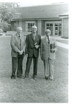 Alexander Reid, E. A. Seamands, and J. C. McPheeters standing just outside the Asbury Seminary Student Center