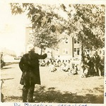 H. C. Morrison preaching to workmen on the Asbury College campus, 1925