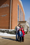 Family from Singapore in Front of Stanger Hall