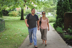 A Couple Walking in Wesley Square