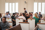 Students in Estes Chapel - Front Section, Side Shot