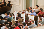 Students and Faculty Listening in Estes Chapel