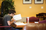 Miles Meehan Studying in the Student Center