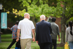 Devin Marks and Dr. Bob Stamps Walking on Campus