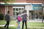 International Students Greeting on Campus