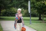 Ellen Stamps Walking on Campus
