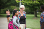 Ellen Stamps Greeting Students on Campus