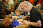 A Father and Son Eating in the Dining Hall - 2