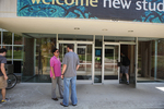Conversation at the Student Center Entrance