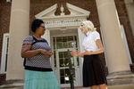 Casondra Radford and Chris Johnson on the Steps of the Admin Building - 10