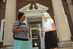Casondra Radford and Chris Johnson on the Steps of the Admin Building - 11