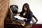 Joy Ames Studying in the Library - 3
