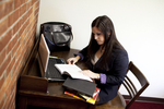 Joy Ames Studying in the Library - 4