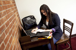 Joy Ames Studying in the Library - 8