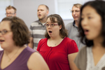 Elizabeth Shaw Singing in a Singing Sems Rehearsal