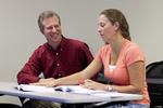 Dr. Chris Kiesling Talking with a Female Student - 2