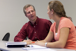 Dr. Chris Kiesling Talking with a Female Student - 4