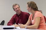 Dr. Chris Kiesling Talking with a Female Student - 5