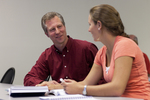 Dr. Chris Kiesling Talking with a Female Student - 6