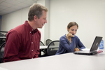 Dr. Chris Kiesling Talking with a Female Student - 12