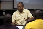 Dr. Russell West Talking with Students - 4
