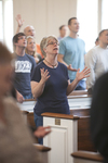 A Female Student Singing in Estes Chapel - 4