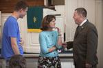 John Leek, Dr. Ellen Marmon, and Bryan Blankenship in Estes Chapel