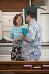 Dr. Ellen Marmon and Mason Newman Talking in Estes Chapel - 2