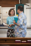 Dr. Ellen Marmon and Mason Newman Talking in Estes Chapel - 3