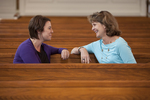 Ashleigh Hallahan and Dr. Ellen Marmon Talking in Estes Chapel