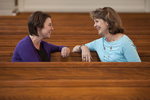 Ashleigh Hallahan and Dr. Ellen Marmon Talking in Estes Chapel - 2