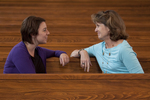 Ashleigh Hallahan and Dr. Ellen Marmon Talking in Estes Chapel - 4