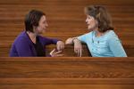 Ashleigh Hallahan and Dr. Ellen Marmon Talking in Estes Chapel - 6