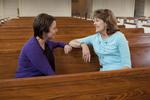 Ashleigh Hallahan and Dr. Ellen Marmon Talking in Estes Chapel - 7