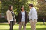 Sarah Jackson, Mel Howard, and Jordan McFall Talking on Campus