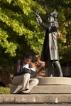 Mel Howard Reading by the Wesley Statue - 2