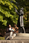 Mel Howard Reading by the Wesley Statue - 3