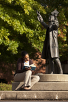 Mel Howard Reading by the Wesley Statue - 4