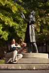 Mel Howard Reading by the Wesley Statue - 5