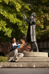 Mel Howard Reading by the Wesley Statue - 10