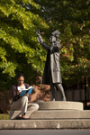 Mel Howard Reading by the Wesley Statue - 11